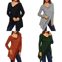 Spandex & Polyester Asymmetrical & Miracle Tassel Women Long Sleeve Blouses, different size for choice, patchwork, more colors for choice, Sold By PC
