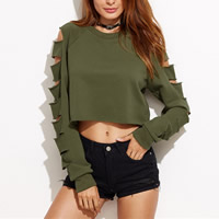 Polyester Crop Top Long Sleeve Nightclub Top hollow Solid army green