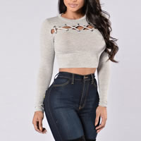 Polyester & Cotton Crop Top & Lace Up Long Sleeve Nightclub Top, different size for choice, Solid, grey, Sold By PC