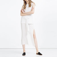 Cotton Women Casual Set skirt   top Solid Size:Free Size