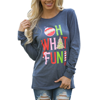 Cotton Women Long Sleeve T-shirt, christmas design & different size for choice, printed, letter, blue, Sold By PC