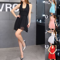 Polyester Halter Dress, backless & different size for choice, with Gauze, Solid, more colors for choice, Sold By PC