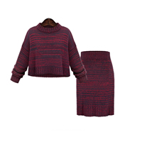 Cotton Women Casual Set, sweater & skirt, Solid, more colors for choice, Size:Free Size, Sold By Set
