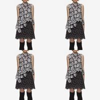 Lace One-piece Dress, different size for choice, patchwork, black, Sold By PC
