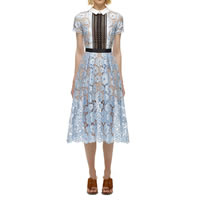 Polyester One-piece Dress, different size for choice & hollow & mid-calf, with Lace, patchwork, light blue, Sold By PC