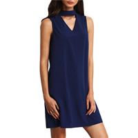 Polyester One-piece Dress hollow Solid deep blue Sold By PC