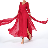 Chiffon Beach Dress, different size for choice & hollow, Solid, red, Sold By PC