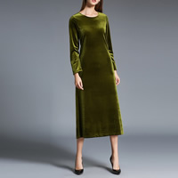 Velour Two-Piece Dress Set Solid army green