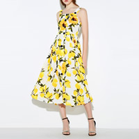 Mixed Fabric   Cotton One-piece Dress mid-calf printed floral yellow