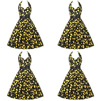 Polyester & Cotton Princess One-piece Dress, backless & different size for choice & with belt, printed, floral, more colors for choice, Sold By PC