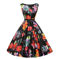 Polyester   Cotton Princess One-piece Dress with belt printed floral black Sold By PC