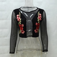 Polyester Crop Top Long Sleeve Nightclub Top, different size for choice & hollow, with Mesh Fabric, embroidered, floral, black, Sold By PC
