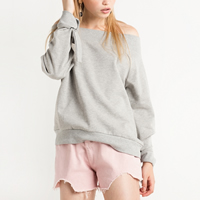 Polyester Women Sweatshirts off shoulder   loose Solid light grey