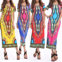 Polyester One-piece Dress, different size for choice & mid-calf, printed, geometric, more colors for choice, Sold By PC