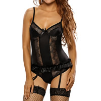 Spandex & Polyester Sexy Babydoll, backless & different size for choice & hollow, with Lace, garter belt & thong & top, patchwork, more colors for choice, Sold By Set