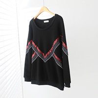 Cotton Plus Size Women Sweatshirts more thicker and more wool with Sequin patchwork black