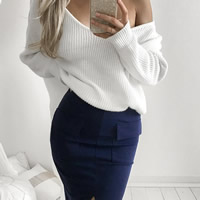 Polyester Women Sweater Shoulder Solid