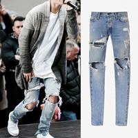 Denim Men Jeans, different size for choice, frayed, Solid, light blue, Sold By PC