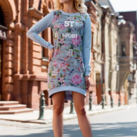 Spandex & Polyester Sweatshirts Dress printed floral grey Sold By PC