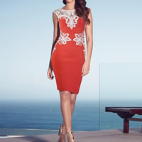 Spandex & Polyester One-piece Dress backless hollow & knee-length patchwork Sold By PC