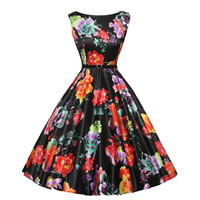 Polyester   Cotton Princess One-piece Dress with belt with Spandex printed floral black