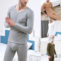 Cotton Men Thermal Underwear Sets more thicker and more wool printed letter Sold By Set