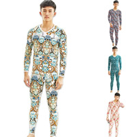 Polyester & Cotton Men Thermal Underwear Sets printed different color and pattern for choice Sold By Set