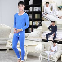 Polyester & Cotton Men Thermal Underwear Sets, different size for choice, printed, dot, more colors for choice, Sold By Set