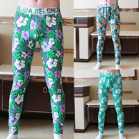 Cotton Hip-hugger Men Leggings, different size for choice & breathable, printed, floral, more colors for choice, Sold By PC