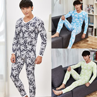 Polyester & Cotton Men Thermal Underwear Sets printed floral Sold By Set