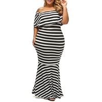 Spandex & Polyester Plus Size Long Evening Dress tube printed striped white Sold By PC