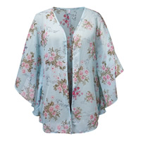 Chiffon Women Sun Protection Clothing printed floral blue Size:Free Size