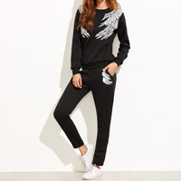Polyester Women Casual Set, different size for choice, Pants & top, printed, wing, more colors for choice, Sold By Set