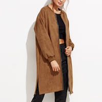 Suede Women Coat Solid brown Size:Free Size Sold By PC