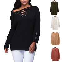 Acrylic Lace Up Women Sweater knitted Solid