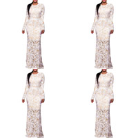Spandex & Polyester Mermaid Long Evening Dress, different size for choice & floor-length, patchwork, white, Sold By PC