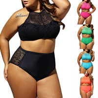 Spandex & Polyester Plus Size Tankinis Set, different size for choice & hollow, with Lace, patchwork, more colors for choice, Sold By Set
