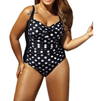 Spandex   Polyester Plus Size One-piece Swimsuit padded printed dot black Sold By PC