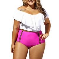 Spandex & Polyester Plus Size Tankinis Set, different size for choice, Solid, fuchsia, Sold By Set
