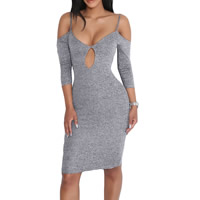 Spandex & Polyester Sexy Package Hip Dresses, backless & different size for choice & off shoulder & hollow, Solid, grey, Sold By PC