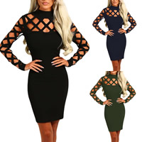 Spandex & Polyester Sexy Package Hip Dresses, different size for choice & hollow, Solid, more colors for choice, Sold By PC