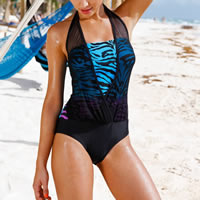 Polyester One-piece Swimsuit, different size for choice & padded, printed, Sold By PC