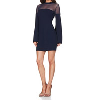 Polyester Sexy Package Hip Dresses, different size for choice & transparent & above knee, patchwork, black, Sold By PC