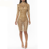 Polyester Nightclub Set, different size for choice & hollow, with Sequin, skirt & teddy, gold, Sold By PC