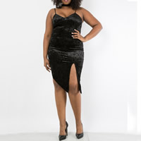 Polyester front slit   Plus Size   Asymmetrical Sexy One-piece Dress Solid black