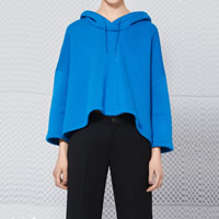 Cotton Women Sweatshirts more thicker and more wool   short front long back   loose Solid blue Sold By PC