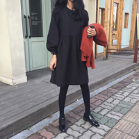Cotton Autumn and Winter Dress, Solid, black, Size:Free Size, Sold By PC