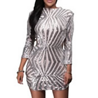 Spandex & Polyester One-piece Dress, backless & hollow, with Sequin, patchwork, silver, Sold By PC