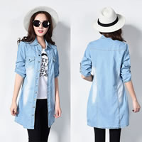Cotton Women Long Sleeve Shirt, different size for choice, patchwork, light blue, Sold By PC