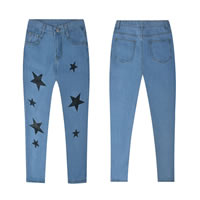 Denim High Waist Women Capri Pants, different size for choice, printed, star pattern, light blue, Sold By PC